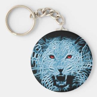 Fractale bleue de léopard de Digitals Porte-clé Rond