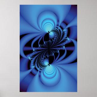 Fractale bleue de paix affiche