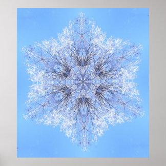 Fractale bleue sensible de flocon de neige affiche