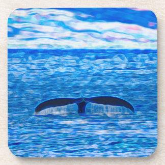 Fractale de queue de baleine bleue et rose dessous-de-verre