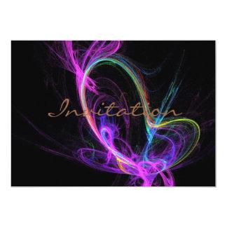 Fractale électrique rose carton d'invitation  12,7 cm x 17,78 cm