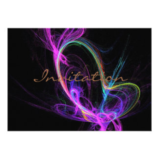 Fractale électrique rose invitation personnalisable