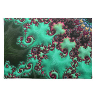 Fractale magnifique de turquoise set de table