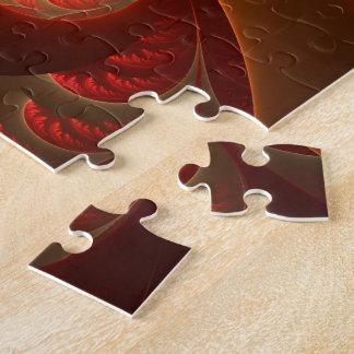Fractale moderne abstraite lumineuse de rouge puzzle