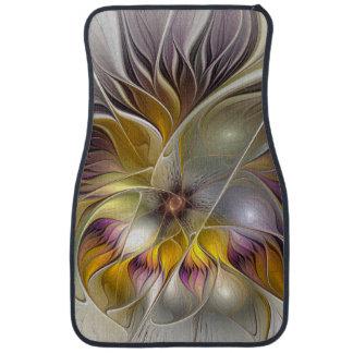 Fractale moderne de fleur colorée abstraite tapis de voiture