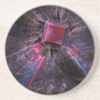 Fractale noire dessous de verre en grès