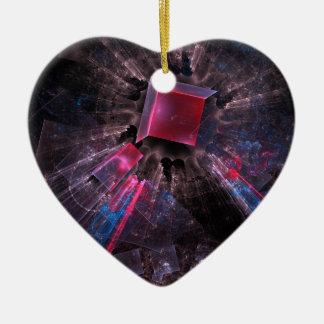 Fractale noire ornement cœur en céramique
