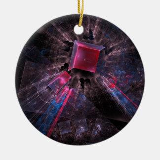 Fractale noire ornement rond en céramique