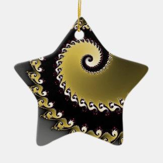 Fractale. Or, argent, noir Ornement Étoile En Céramique