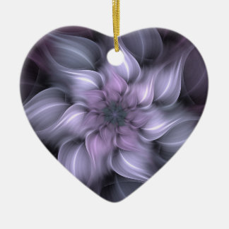 Fractale pourpre ornement cœur en céramique