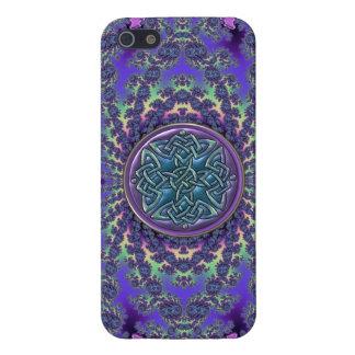 Fractale psychédélique et noeud celtique bleu étuis iPhone 5