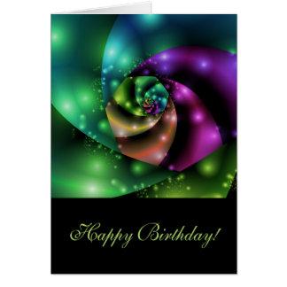 Fractale rose cosmique - carte d'anniversaire