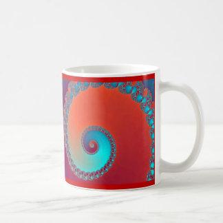 Fractale, rouge et turquoise d'escargots mug blanc