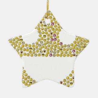 Fractale souriante de visage ornement étoile en céramique