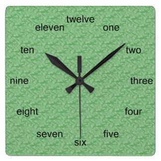 Fractale-Style vert pomme Horloge Carrée