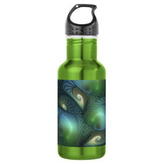 Fractale verte beige d'imaginaire de turquoise de bouteille d'eau