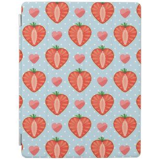 Fraises de coeur avec le pois et les coeurs protection iPad