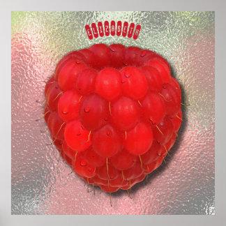 Framboise fraîche rouge avec le dessin de baisses poster