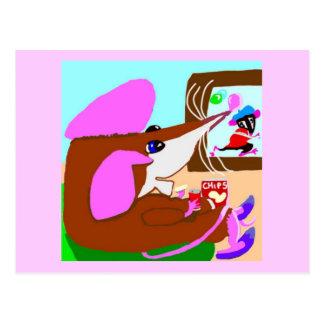 Franc-tireur que la souris détend avec des puces cartes postales