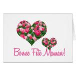 Français blanc de carte du jour de mère de coeurs