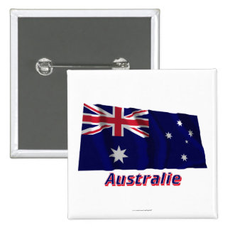 Français de Drapeau Australie avec le nom en Badge Carré 5 Cm