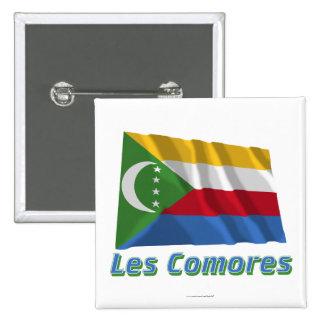 Français de Drapeau Comores avec le nom en Badge Carré 5 Cm
