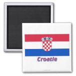 Français de Drapeau Croatie avec le nom en Magnet Carré