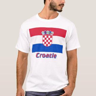 Français de Drapeau Croatie avec le nom en T-shirt