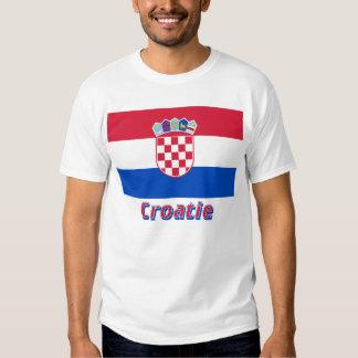 Français de Drapeau Croatie avec le nom en T-shirts