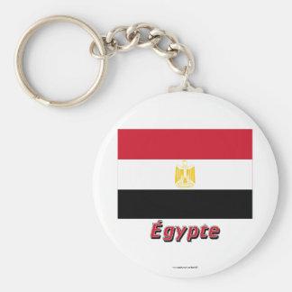 Français de Drapeau Égypte avec le nom en Porte-clé Rond