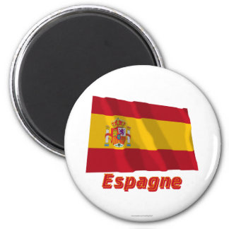 Français de Drapeau Espagne avec le nom en Aimant Pour Réfrigérateur