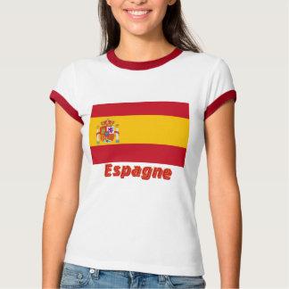 Français de Drapeau Espagne avec le nom en T-shirt