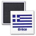 Français de Drapeau Grèce avec le nom en Aimants