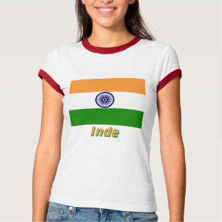 Français de Drapeau Inde avec le nom en T-shirt