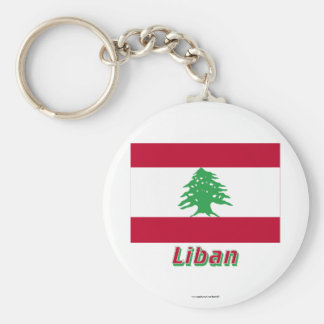 Français de Drapeau Liban avec le nom en Porte-clé Rond