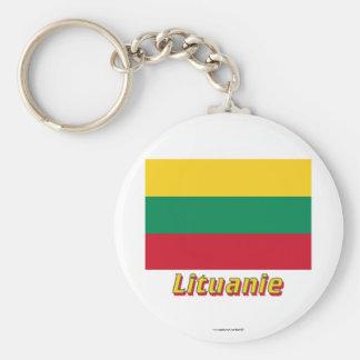 Français de Drapeau Lituanie avec le nom en Porte-clé Rond