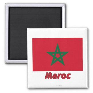 Français de Drapeau Maroc avec le nom en Magnet Carré