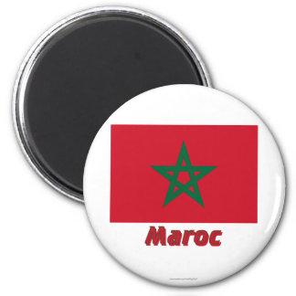 Français de Drapeau Maroc avec le nom en Magnet Rond 8 Cm