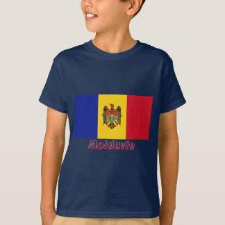 Français de Drapeau Moldavie avec le nom en T-shirt