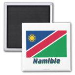 Français de Drapeau Namibie avec le nom en Magnet Carré