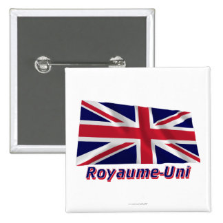 Français de Drapeau Royaume-Uni avec le nom en Badge Carré 5 Cm