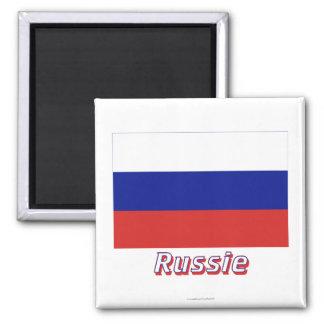 Français de Drapeau Russie avec le nom en Magnet Carré