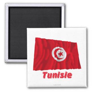 Français de Drapeau Tunisie avec le nom en Aimant Pour Réfrigérateur