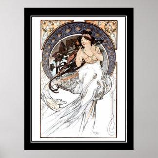 Français de poster vintage d'Alphonse Mucha