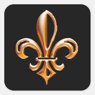 Français Golden Fleur de Lis Autocollant Carré