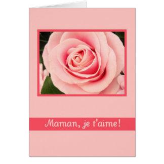 Français rose rose de carte de voeux du jour de