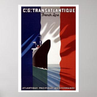 Français vintage C.G. Transatlantique Line affiche Posters