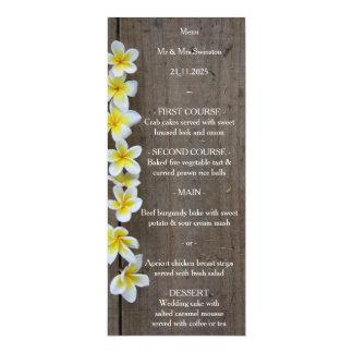 Frangipani de mariage de plage/menu rustique de carton d'invitation  10,16 cm x 23,49 cm