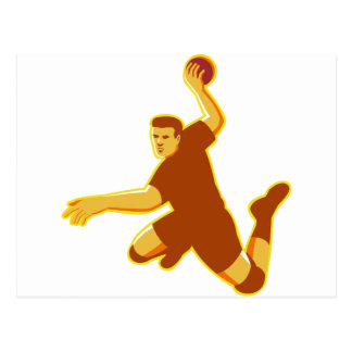 frappe sautante de joueur de handball rétro cartes postales