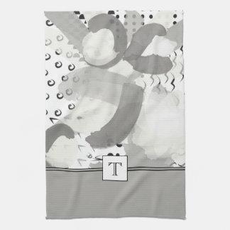 Frappez une serviette de cuisine de monogramme de serviettes pour les mains